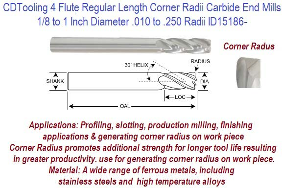 3//4-4FL-SE-Reg-w//.030R Carbide End Mill 206-603315
