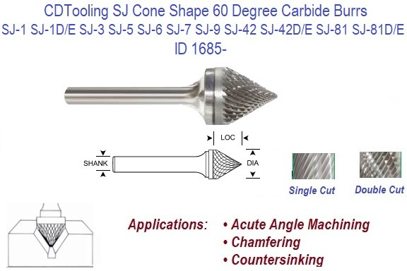 90° Included Angle Carbide Burr Double Cut SK-42D 1//8 x 1//8 x 1//16 x 1 1//2