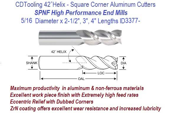 """5//8/"""" 3 FLUTE 37° HELIX CARBIDE END MILL FOR ALUMINUM SQUARE END ZRN COATED"""