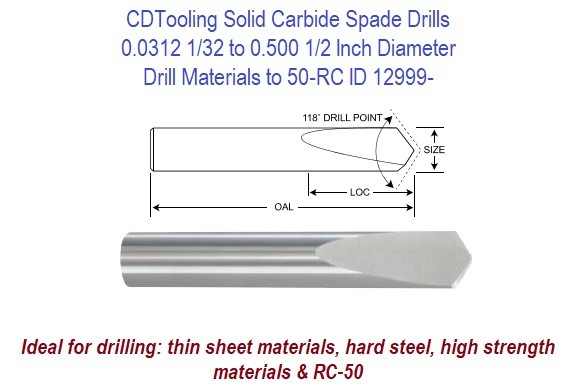 Solid Carbide Spade Drills 0.0312 1/32 to 0.5000 1/2 Inch Diameter Drill Materials to 50-Rc ID 12999-