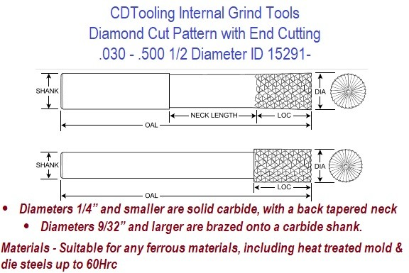 .030 - .500 1/2 Diameter Diamond Cut Pattern with End Cutting Internal Grind Tools ID 15291-