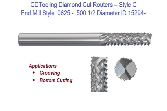 .0625 - .500 1/2 Diameter End Mill Style - Diamond Cut Routers ID 15294-
