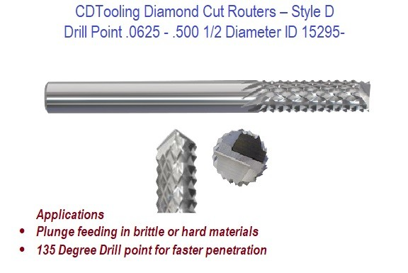 .0625 - .500 1/2 Diameter Drill Point - Diamond Cut Routers ID 15295-