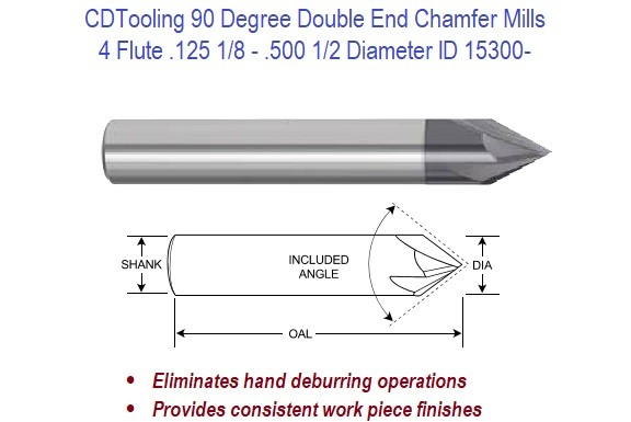 """DOUBLE END 1//4/"""" 2 FLUTE 90 DEGREE CARBIDE CHAMFER MILL"""