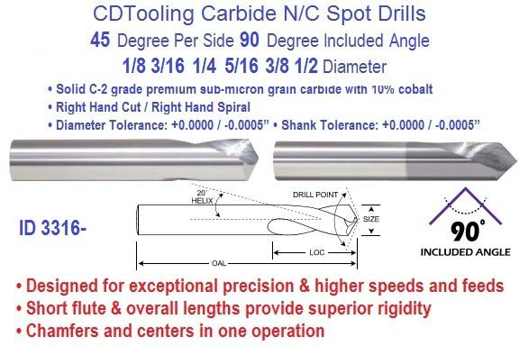 Spot Drills N/C Carbide 45 per Side 90 Degree Included 1/8 3/16 1/4 5/16 3/8 1/2 Diameter ID 3316-