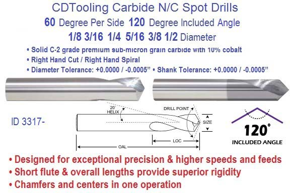 Spot Drills N/C Carbide 60 per Side 120 Degree Included 1/8 3/16 1/4 5/16 3/8 1/2 Diameter ID 3317-