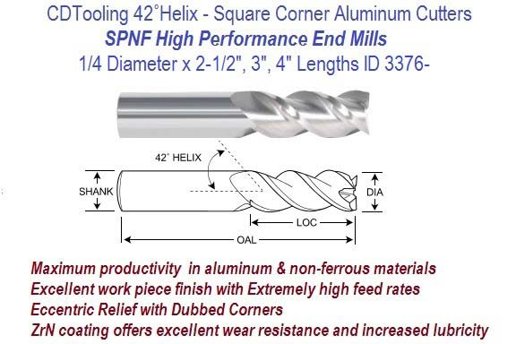 .250 1/4 Diameter x 2-1/2, 3, 4 Inch Lengths HP End Mills For Aluminum and Non-Ferrous ID 3376-