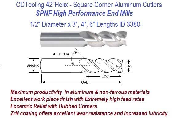 .500  1/2 Diameter x 3, 4, 6 Inch Length HP End Mills For Aluminum and Non-Ferrous ID 3380-