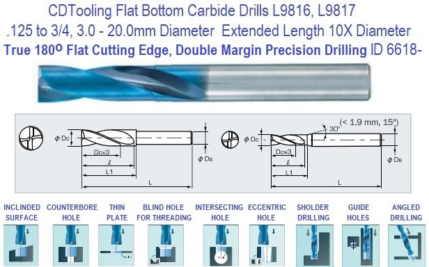 Carbide Flat Bottom Drills True 180 Degree End 10x Diameter Double Margin  .125 TO 3/4 Inch 3.0 to 20 MM Diameter ID 6618-