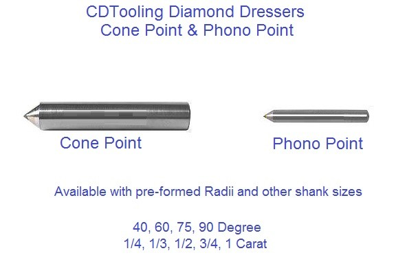 Cone Point & Phono Point, Diamod Dresser, 40 60 75 90 Degree, 1/4 1/3 1/2 3/4 Carat