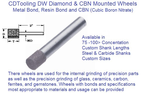 Diamond Wheels Mandrel Mounted 1/8 3/16 1/4 5/16 3/8 1/2 5/8 3/4 1