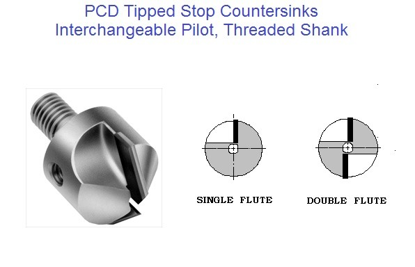 PCD Tipped Stop Countersink, Polycrystalline Diamond 80 90 100 degree