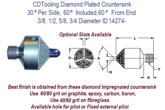 30 Per Side, 60 Included, 60 From End, 3/8, 1/2, 5/8, 3/4 Degree Diamond Plated Stop Countersink ID 14274-