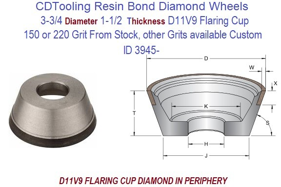 D11V9  3.750 3-3/4 Inch Diameter 1-1/2 Thick  X 1-1/4 Arbor Hole Diamond Grinding Flaring Cup Wheels Resin Bond ID 3945-