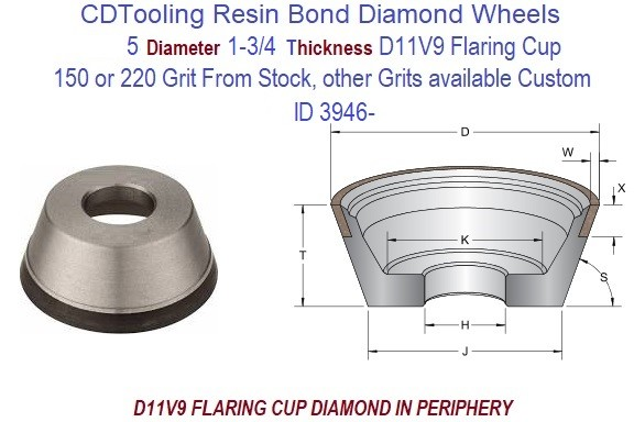 D11V9  5 Inch Diameter 1-3/4 Thick  X 1-1/4 Arbor Hole Diamond Grinding Flaring Cup Wheels Resin Bond ID 3946-
