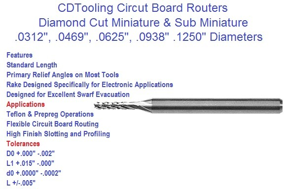 Carbide Circuit Board Routers .0312 .0469 .0625 .0938 .1250 Diamond Cut