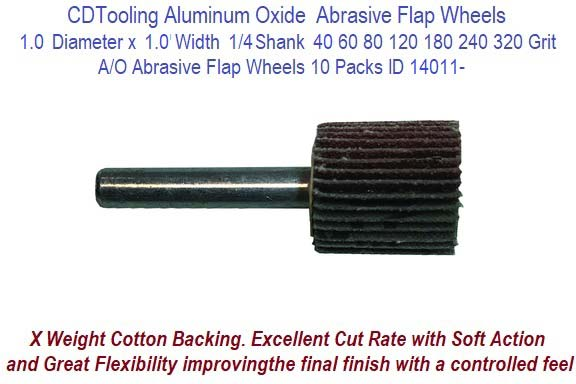 "1/"" x 1/"" x 1//4/"" Shank Mounted Flap Wheels A//O 80 Grit Sanding Wheel 10 Pack"
