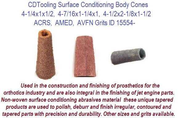 Coated Abrasive Body Cones ACRS, AMED, AVFN Grit Available 25 Packs ID 15554-