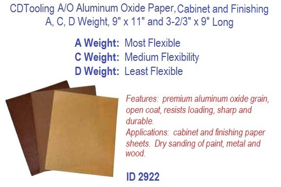 A/O Aluminum Oxide Paper Cabinet and Finishing, A C D Weight, 9