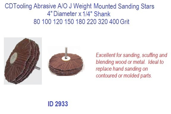 Abrasive A/O J Weight Mounted Sanding Stars, 4