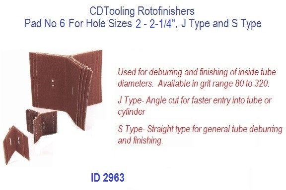 Rotofinishers Pad No 6 For Hole Sizes 2 - 2-1/4, J Type and S Type, ID 2963