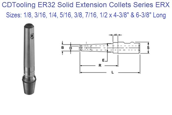 ER32 Extension Collets 1/8 3/16 1/4 5/16 3/8 7/16 1/2 Inch Series ERX