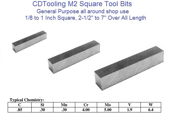 M2 High Speed Steel Tool Bits Square 1/8 to 1 x 2-1/2 to 7 Inch Long