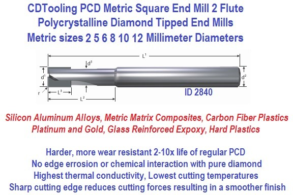 PCD Metric End Mill Polycrystalline Diamond 2 Flute Square End 4 5 6 8 10 12 MM ID 2840