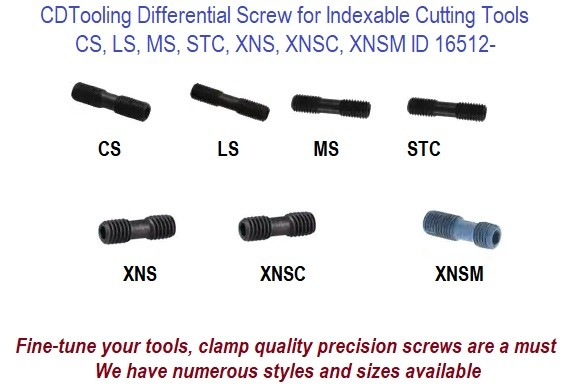 CS, LS, MS, STC, XNS, XNSC, XNSM, Differential Screws for Indexable Tool Spare Parts Sold in 2 Packs ID 16512-