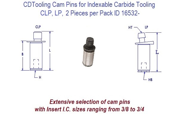 CLP, LP, Cam Pins for Indexable Tool Spare Parts Sold in 2 Packs ID 16532-