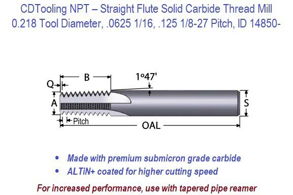 NPT Straight Flute Solid Carbide Thread Mill - 0.218 Diameter .0625 1/16, .125 1/8-27  Pitch ID 14850-