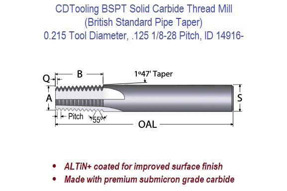 BSPT Solid Carbide Thread Mill - 0.215 Diameter .125 1/8-28 Pitch ID 14916-