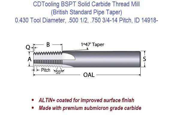 BSPT Solid Carbide Thread Mill - 0.430 Diameter .500 1/2, .750 3/4-14 Pitch ID 14918-