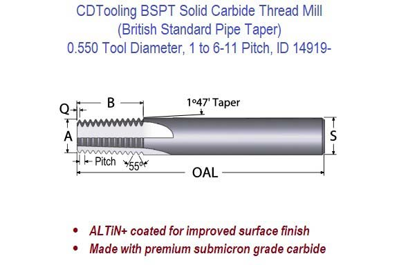 BSPT Solid Carbide Thread Mill - 0.550 Diameter 1 to 6-11 Pitch ID 14919-