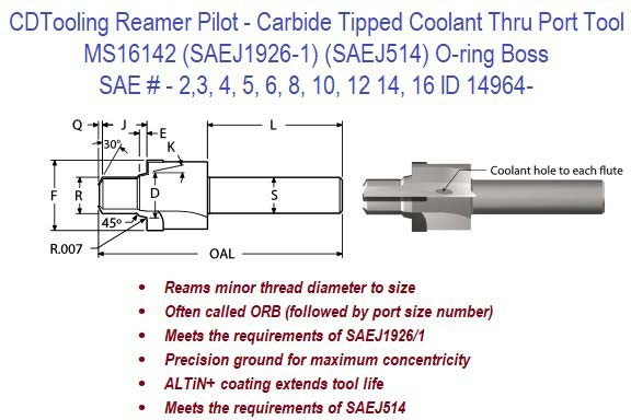MS16142, SAEJ1926-1, SAEJ514, O-RING BOSS - Reamer Pilot - Carbide Tipped - Coolant Thru SAE Port Tool ID 14964-