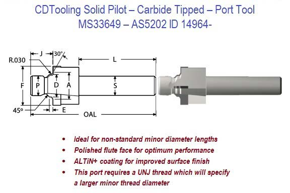 MS33649, AS5202 - Solid Pilot - Carbide Tipped - Port Tool ID 14965-