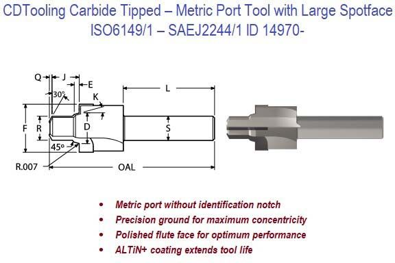 ISO6149-1, SAEJ2244-1 - Carbide Tipped - Metric Port Tool with Large Spotface ID 14970-