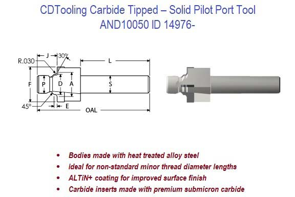 AND10050 - Carbide Tipped - Solid Pilot Port Tool ID 14976-