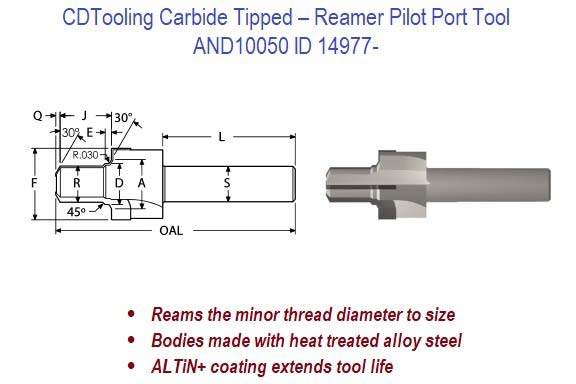 AND10050 - Carbide Tipped - Reamer Pilot Port Tool ID 14977-