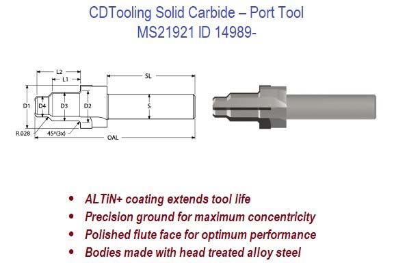 MS21921 - Solid Carbide - Port Tool ID 14989-