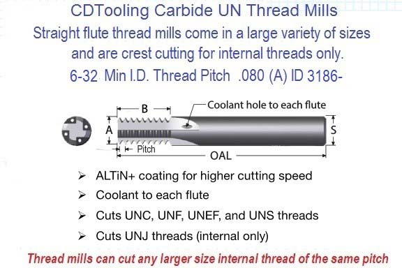 8-32 TMC Coolant Through Carbide Straight Flute Thread Mill Full Profile ID 3187
