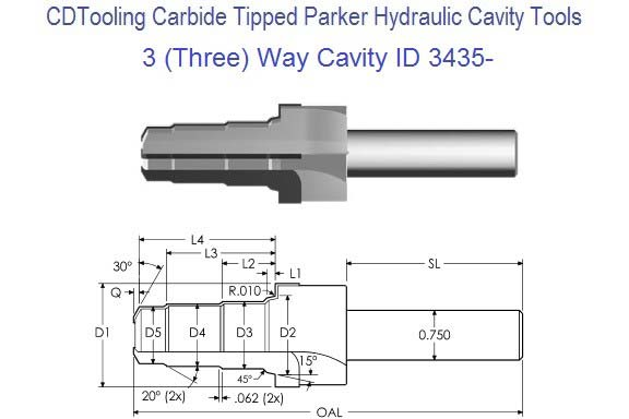 3, Three Way Parker Common Cavity Cutter Carbide Tipped ID 3435-