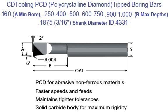 .160 Min Bore, .250 to1.000 Depth, .1875 Shank Pollycrystalline Diamond PCD Tipped Boring Bars ID 4331-