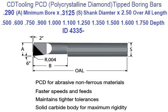.290 Min Bore, .400 to 1750 Depth, .312 Shank Pollycrystalline Diamond PCD Tipped Boring Bars ID 4335-