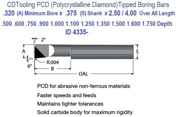 .320 Min Bore, .500 to 3.000 Depth, .375 Shank Pollycrystalline Diamond PCD Tipped Boring Bars ID 4336-