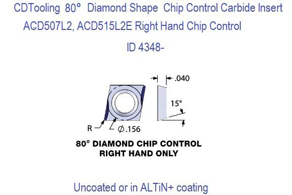 ACD507L2, ACD515L2 Right Hand Chip Control Diamond Shaped Carbide Inserts 5 Pack ID 4348-