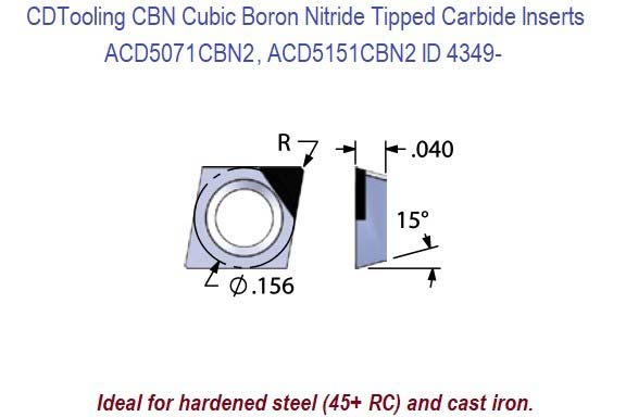 ACD5071CBN2, ACD5151CBN2 Diamond Shaped CBN Tipped Carbide Inserts 1 Pack ID 4349-
