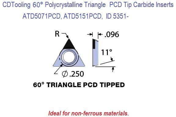 ATD2071PCD, ATD2151PCD, Triangle Shaped Polycrystalline Diamond PCD Tipped Carbide Inserts 1 Pack ID 4351