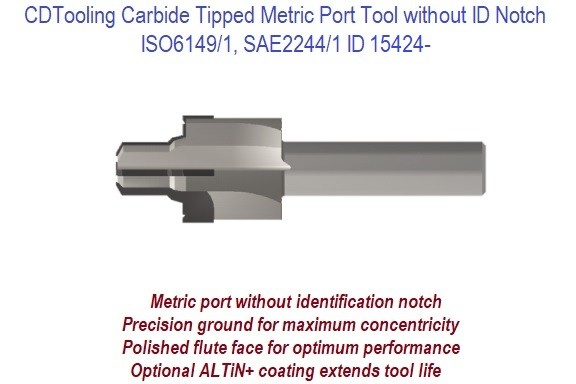 Carbide Tipped Metric Port Tool without ID Notch ISO6149/1, SAE2244/1 ID 14524-