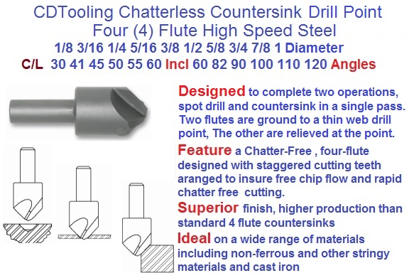 "5//16/"" 100 DEGREE HIGH SPEED STEEL 3 FLUTE COUNTERSINK"